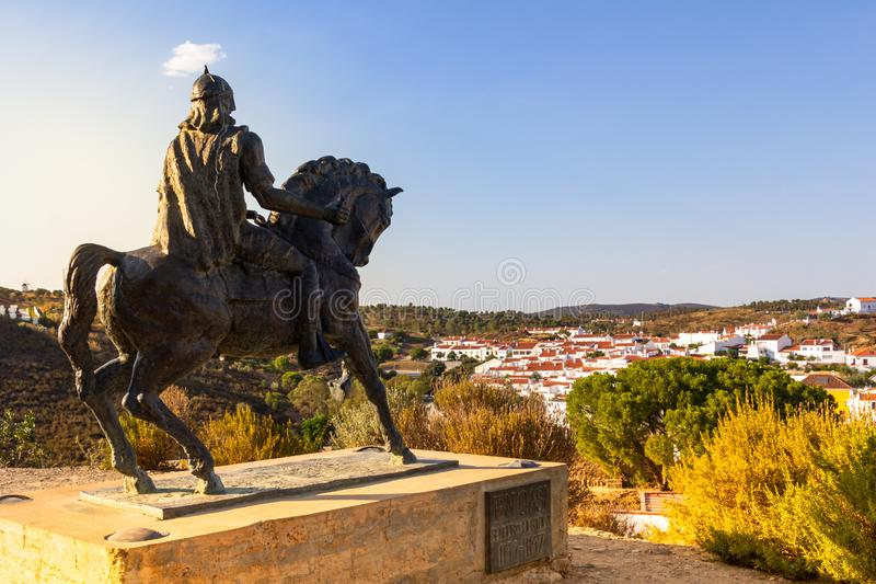 Equestrian statue of Ibn Qasi in Mertola. At sunset, Alentejo, Beja district, Portugal stock photography