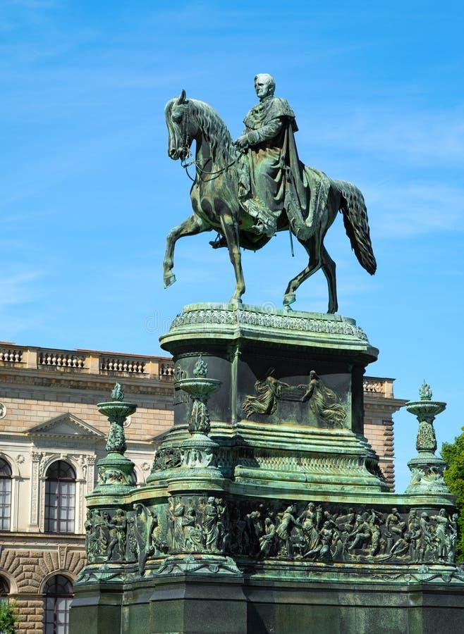 Equestrian Statue of King John of Saxony. (Konig Johann I. von Sachsen) at Theaterplatz in Dresden, Germany royalty free stock photos