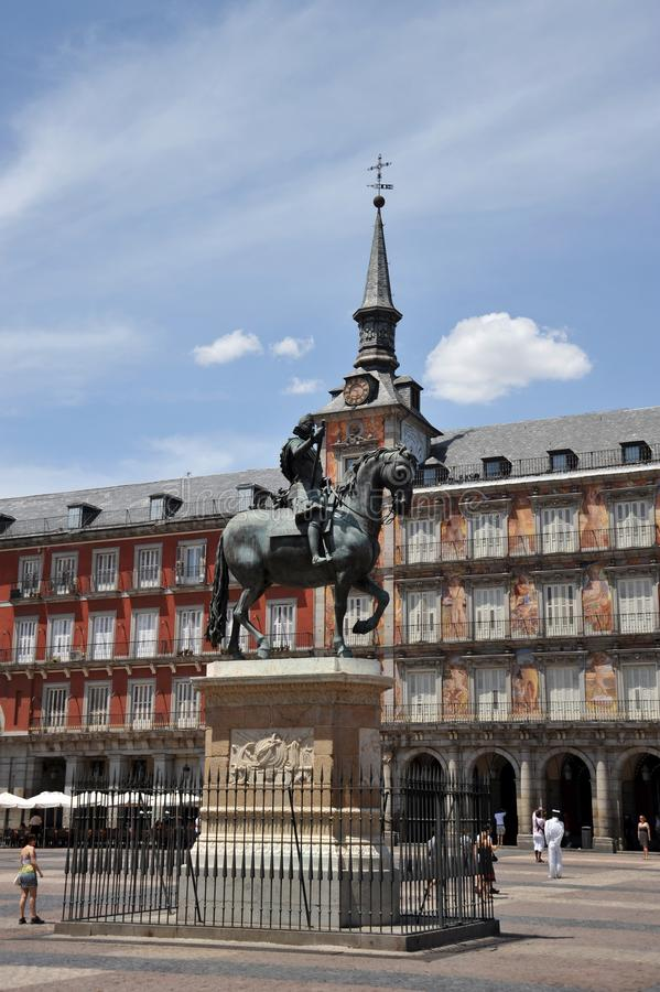 Equestrian statue of King Philip III at the Plaza Mayor in Madrid. royalty free stock photos