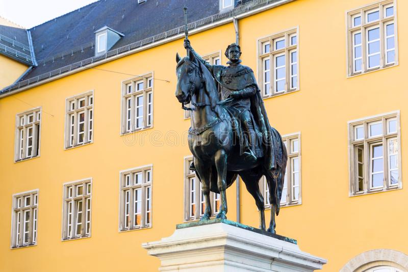 Equestrian statue of Ludwig the First in Regensburg Bavaria Germany royalty free stock photo