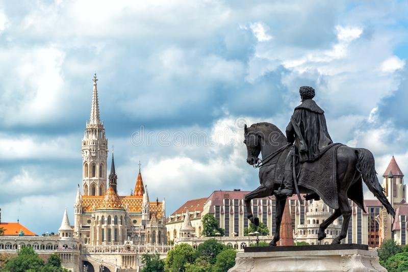 Equestrian Statue and Matthias Church in Budapest. Gyula Andrassy equestrian statue with Matthias Church in the background in Budapest, Hungary stock images