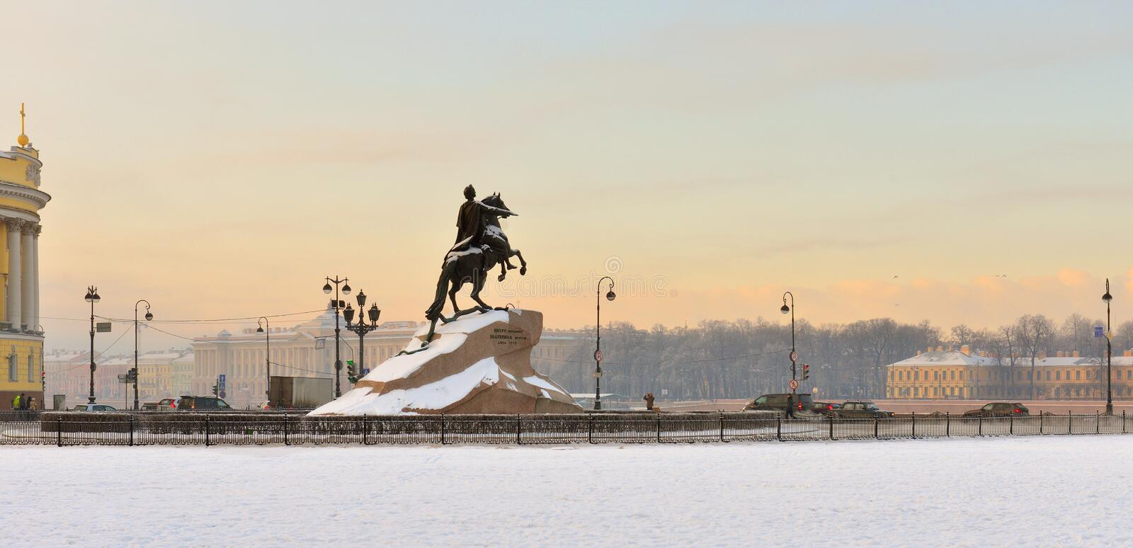 Equestrian statue of Peter Great is situated in Senate Square. Bronze Horseman is an equestrian statue of Peter the Great in Saint Petersburg, Russia stock images