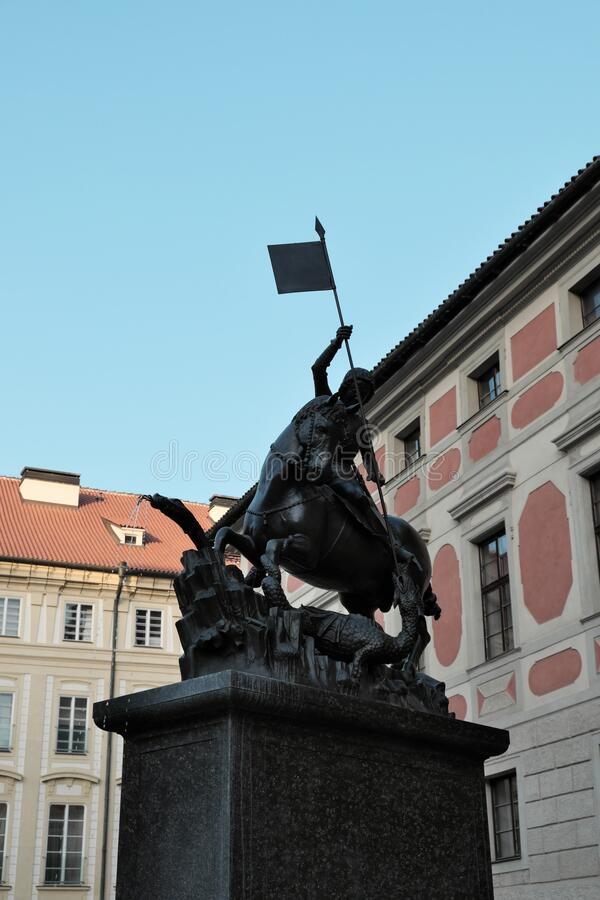 Equestrian statue of St. George in Prague. Sculpture by the brothers Georg and Martin von Clausenburg.  royalty free stock image