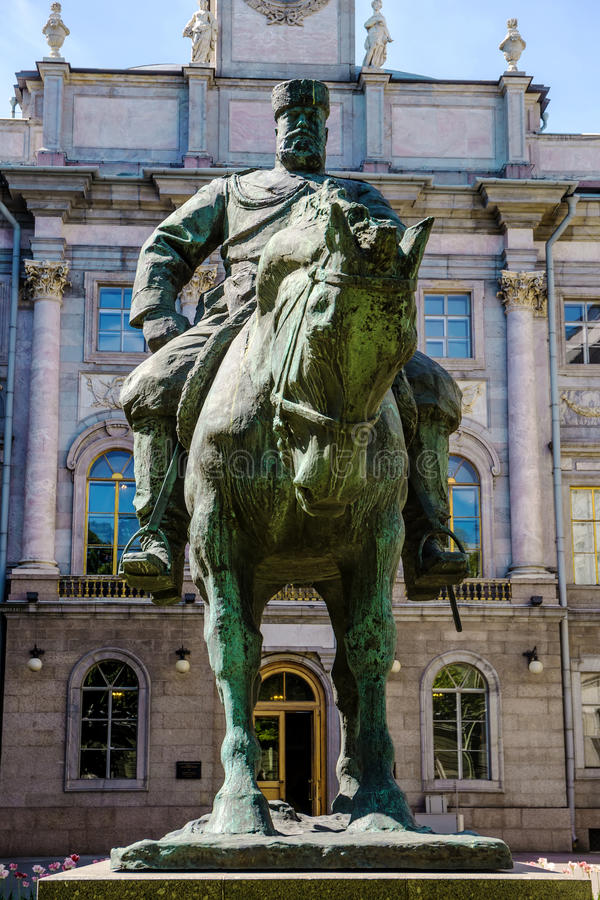Equestrian statue to Emperor Alexander III, St. Petersburg. Equestrian statue to Emperor Alexander III in the courtyard of the Marble Palace, St. Petersburg royalty free stock photo