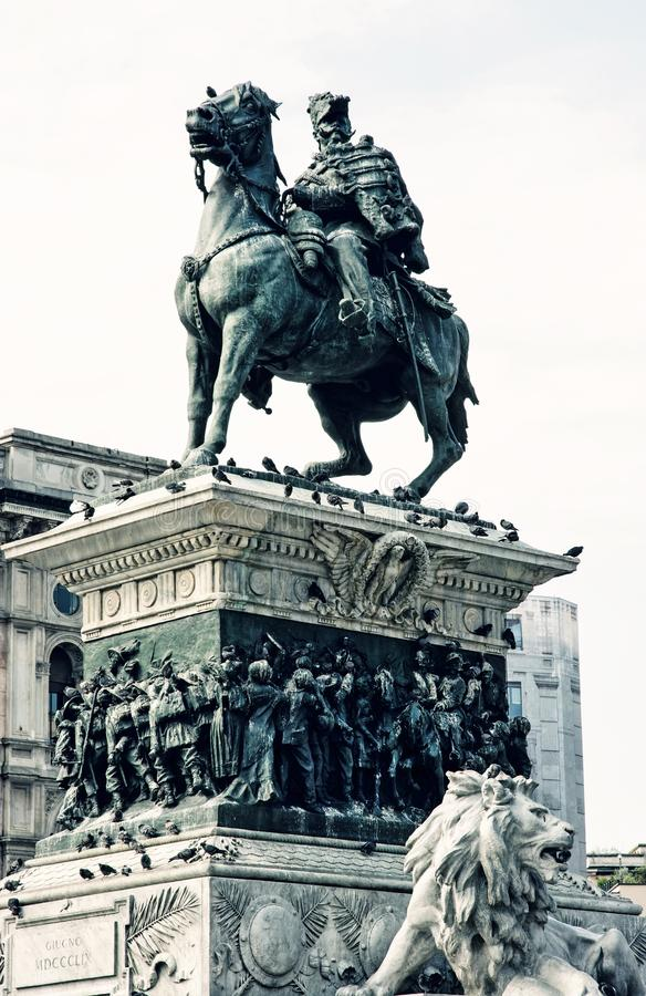 Equestrian statue of Vittorio Emanuele II in Milan, Italy, blue. Equestrian statue of Vittorio Emanuele II in Milan city, Italy. Cultural heritage. Blue photo royalty free stock photos