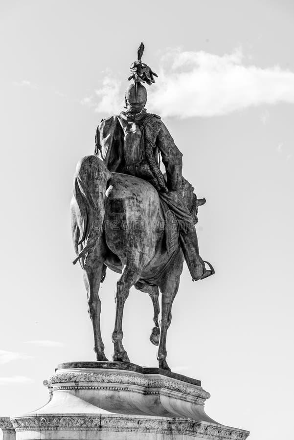 Equestrian statue of Vittorio Emanuele II - Monument Vittoriano or Altare della Patria. Rome, Italy. Black and white image stock images