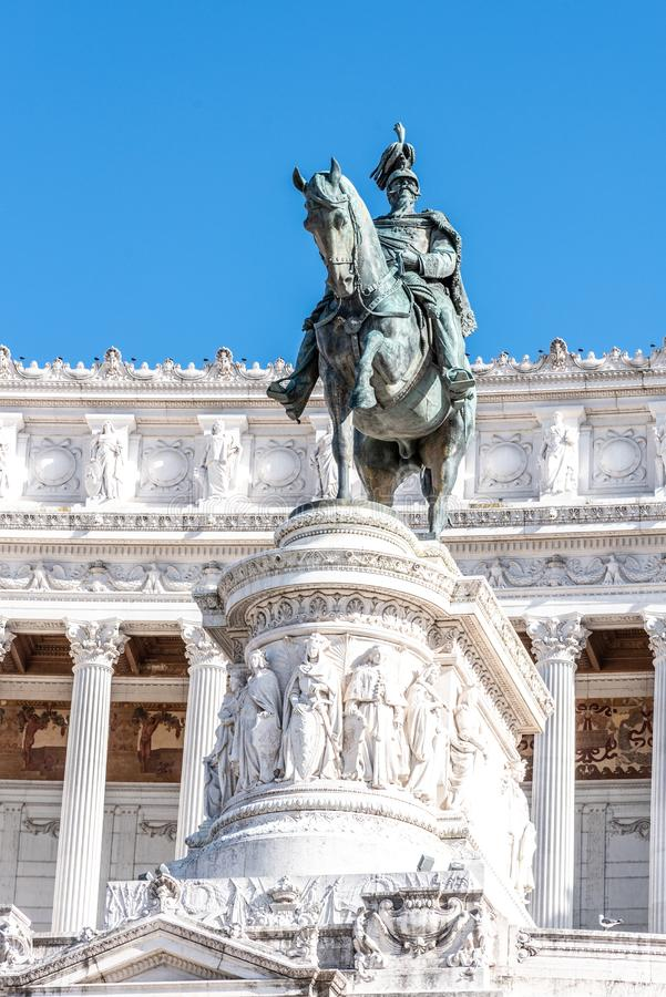 Equestrian statue of Vittorio Emanuele II - Monument Vittoriano or Altare della Patria. Rome, Italy.  stock image