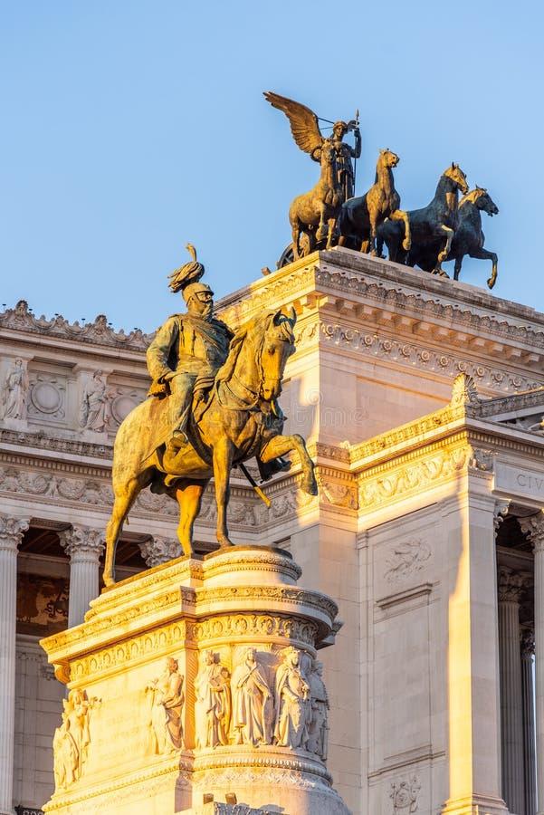 Equestrian statue of Vittorio Emanuele II - Monument Vittoriano or Altare della Patria. Rome, Italy. Morning sunrise. Time royalty free stock image