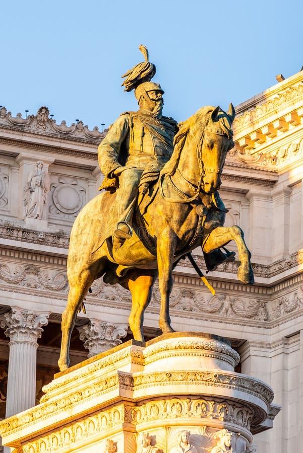 Equestrian statue of Vittorio Emanuele II - Monument Vittoriano or Altare della Patria. Rome, Italy. Morning sunrise. Time stock photography