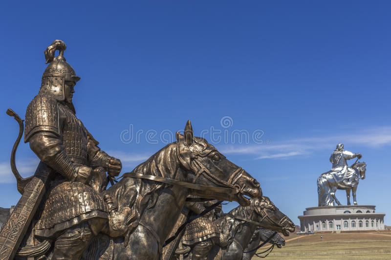 Equestrian statues of warriors of Genghis Khan, Tsonjin Boldog, stock photos