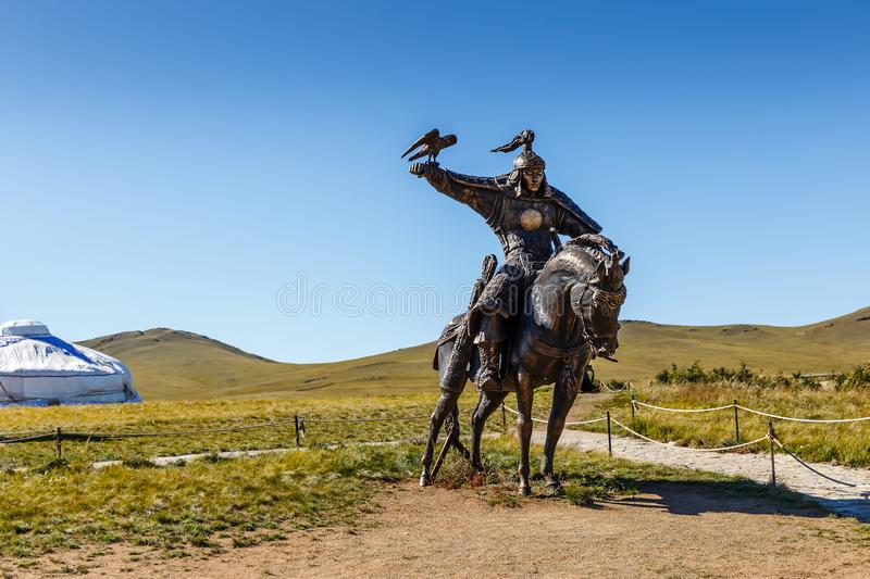 Equestrian statues of warriors of Genghis Khan stock photos
