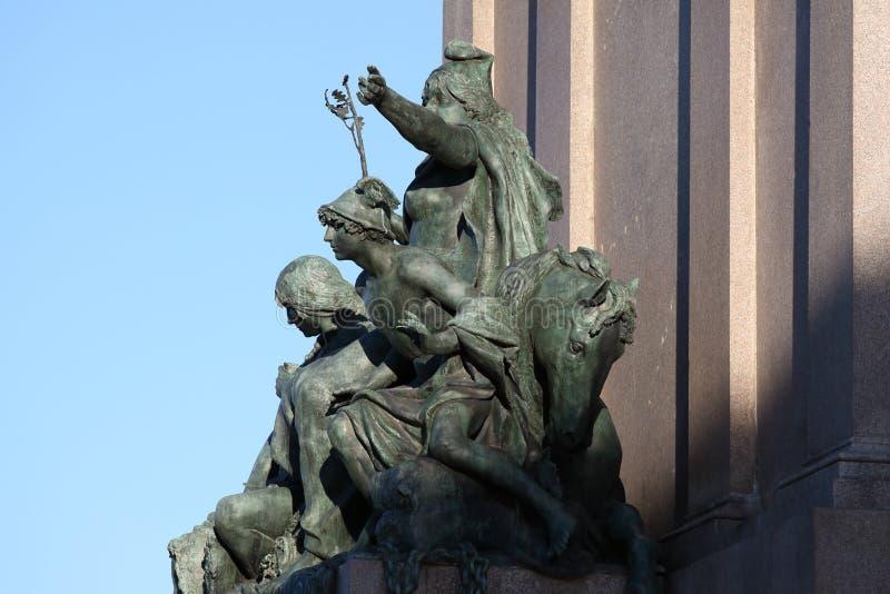 Equestrian zabytek dedykujący Giuseppe Garibaldi w Rzym, Ameryka ` s - statuy szczegół fotografia royalty free