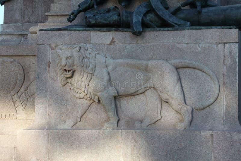 Equestrian zabytek dedykujący Giuseppe Garibaldi w Rzym - lwa szczegół zdjęcia stock