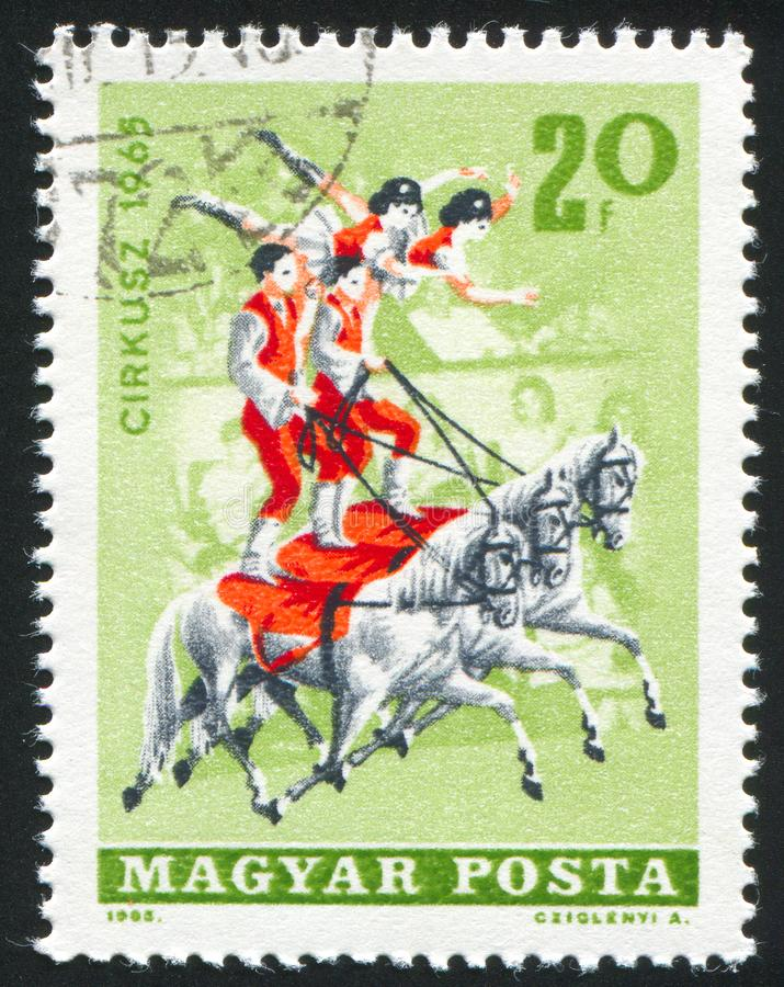Equestrians. HUNGARY - CIRCA 1965: stamp printed by Hungary, shows Equestrians, circa 1965 royalty free stock images