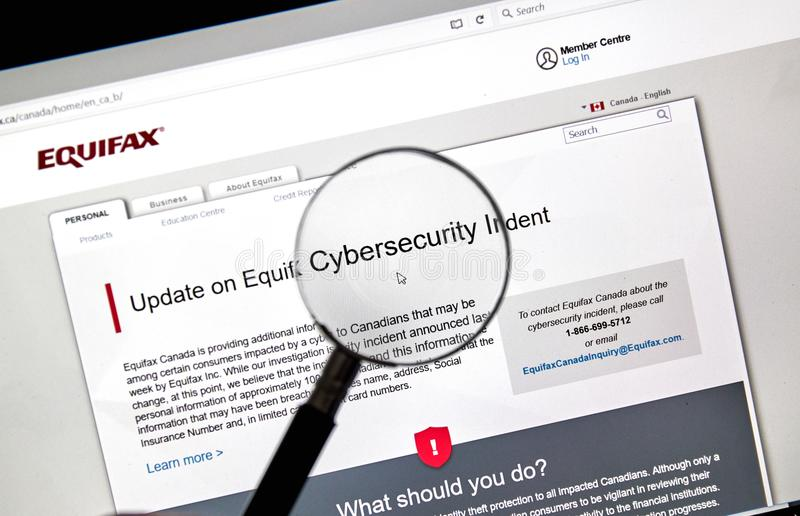 Equifax Canada home page stock images