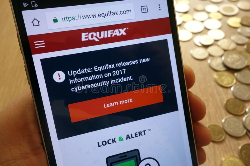Equifax Canada website displayed on smartphone royalty free stock image