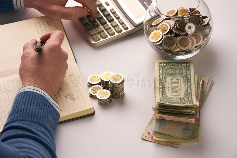 Equilíbrio calculador do contador ou do banqueiro imagem de stock royalty free