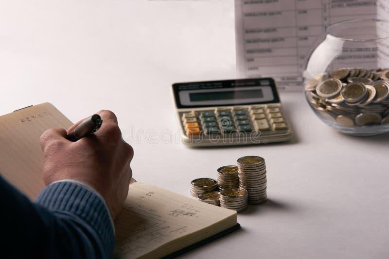 Equilíbrio calculador do contador ou do banqueiro fotografia de stock