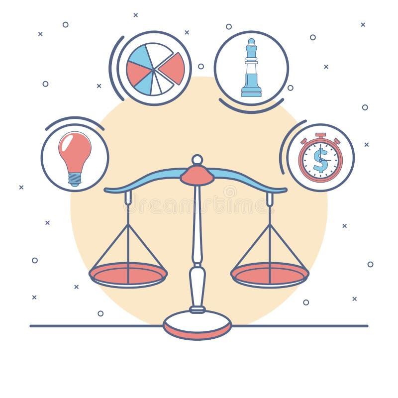 Equilíbrio com símbolos do negócio e do dinheiro ilustração do vetor