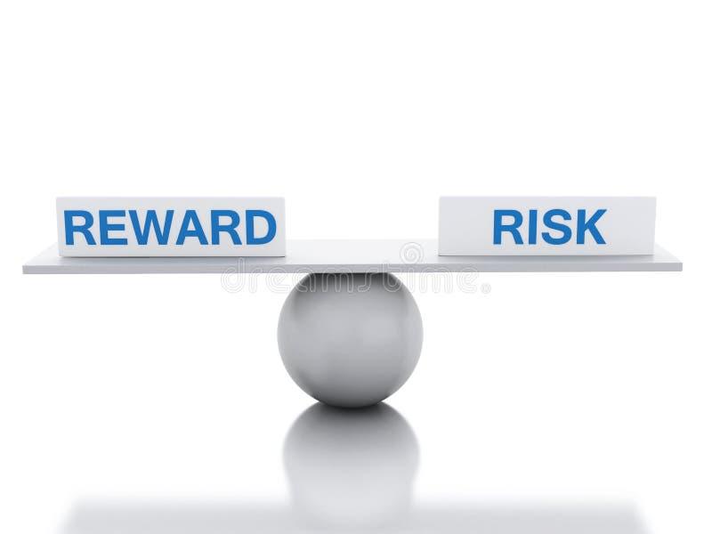 equilíbrio da balancê 3D entre a recompensa e o risco ilustração stock