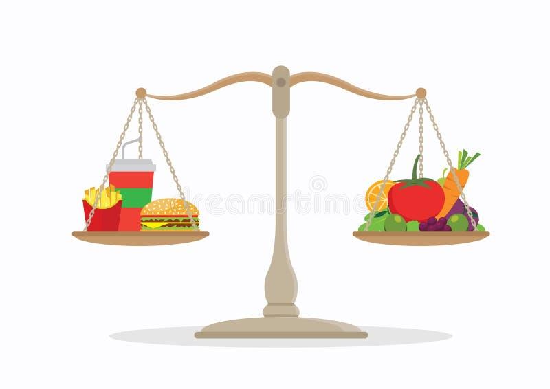 Equilíbrio da comida lixo e dos vegetais na escala fotos de stock