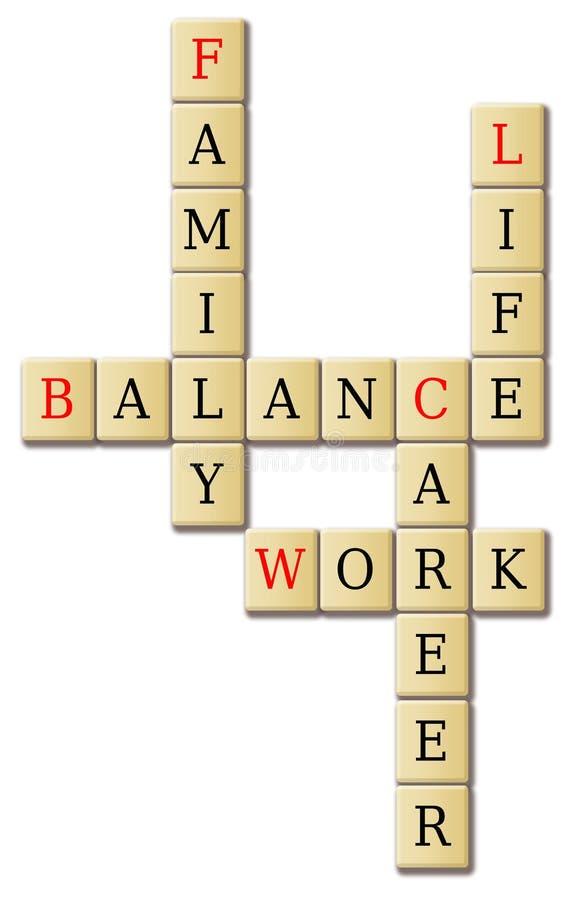 Equilíbrio da vida do trabalho e arranjo das palavras da família ilustração do vetor