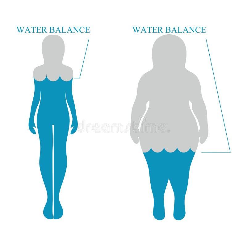 Equilíbrio de água, silhuetas humanas Conceito saudável do estilo de vida ilustração do vetor