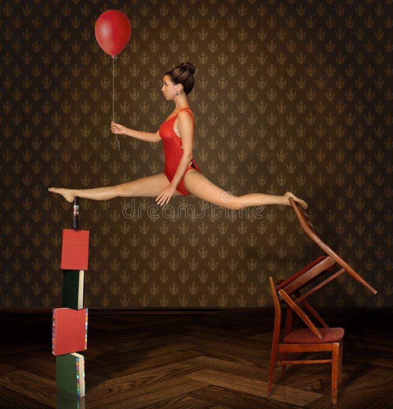 Equilíbrio instável, menina e balão vermelho fotos de stock royalty free