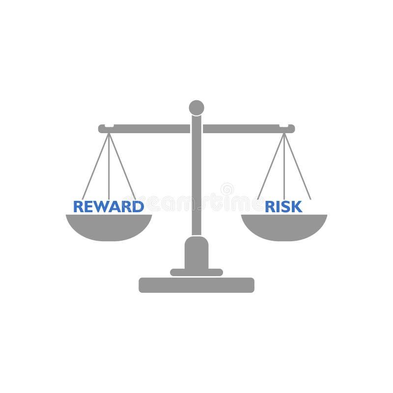Equil?brio da balanc? entre a recompensa e o risco, conceito do libra ilustração royalty free