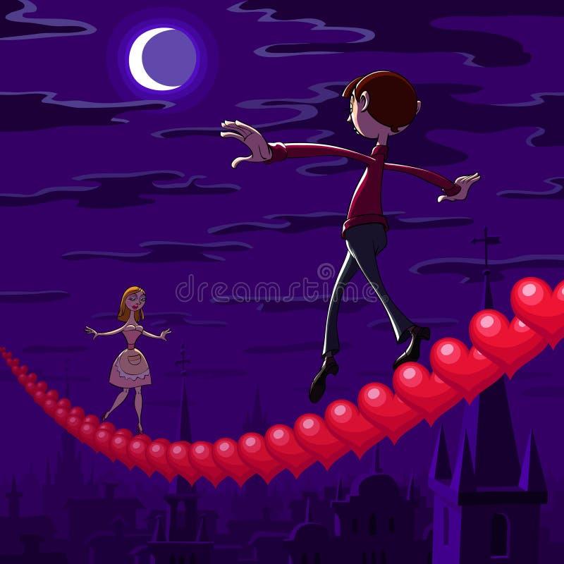 Equilibratura di notte del biglietto di S. Valentino immagine stock