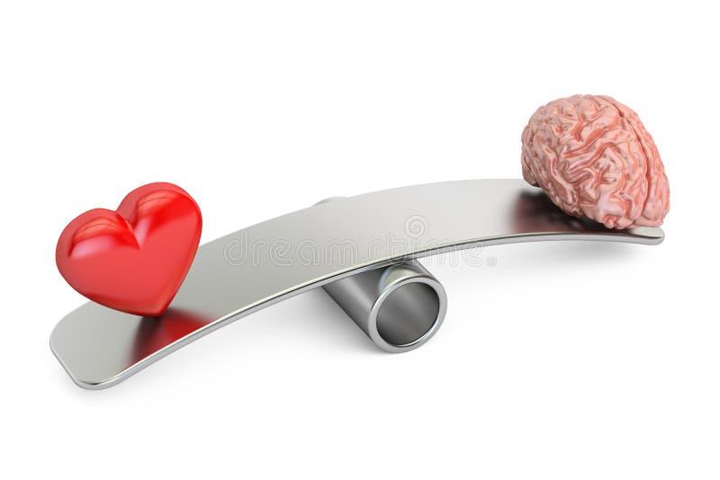 Equilibre el concepto, la oscilación con el corazón y el cerebro, representación 3D ilustración del vector