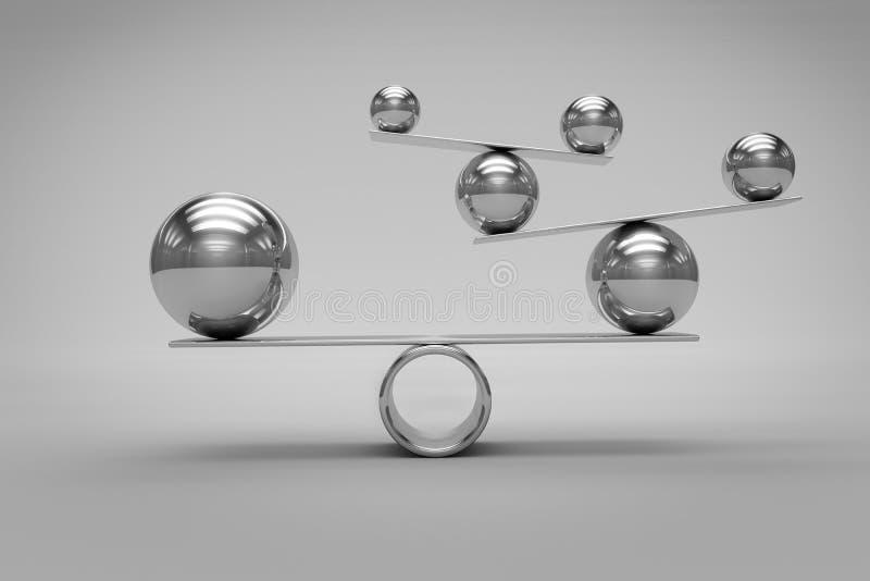 Equilibri il concetto con le palle di Chrome su fondo grigio, la rappresentazione 3d fotografie stock