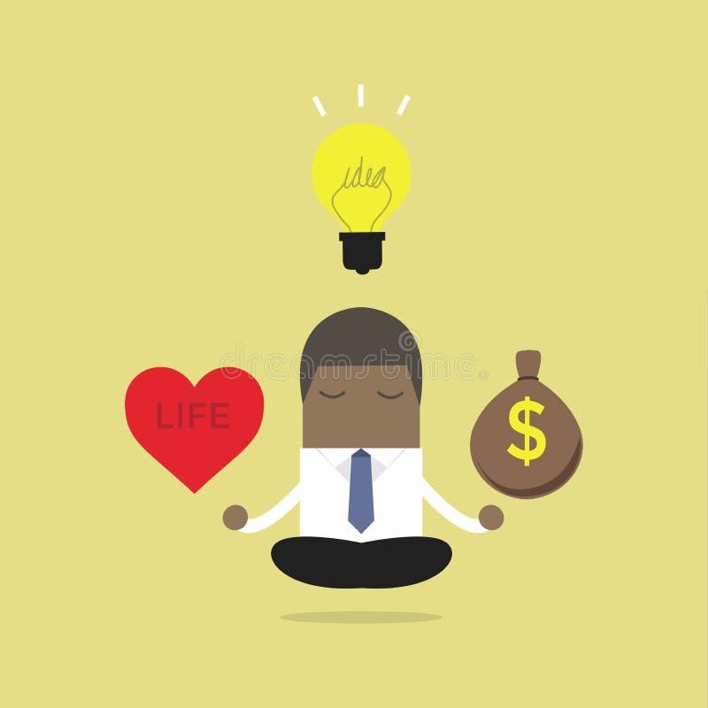 Equilibrio africano de la meditación del hombre de negocios entre las ideas, el dinero y la vida stock de ilustración