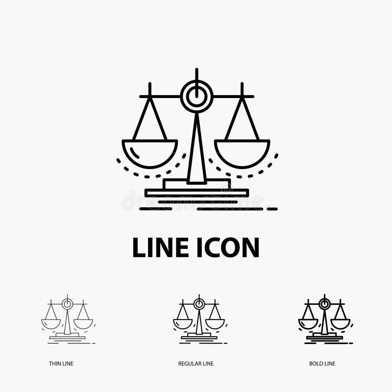 Equilibrio, decisione, giustizia, legge, icona della scala nella linea stile sottile, regolare ed audace Illustrazione di vettore royalty illustrazione gratis