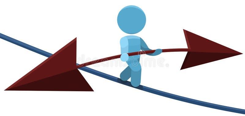 Equilibrio dell'uomo della corda per funamboli che cammina sull'illustrazione della corda illustrazione di stock