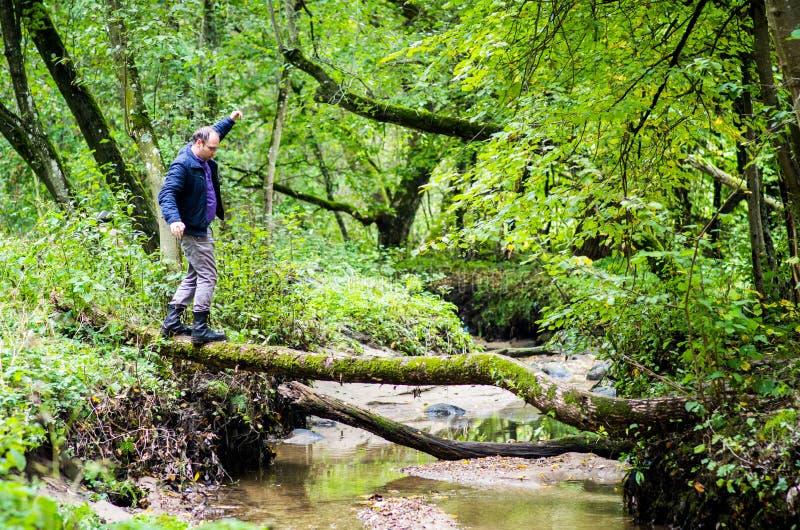 Equilibrio dell'uomo in foresta fotografia stock