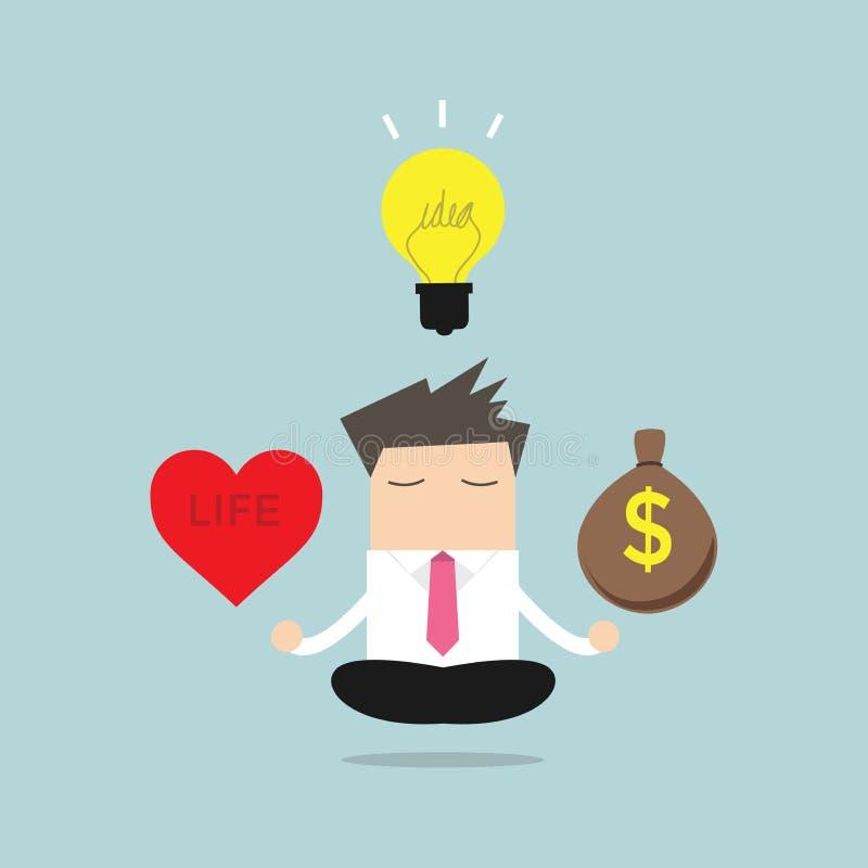 Equilibrio di meditazione dell'uomo d'affari fra le idee, i soldi e la vita illustrazione vettoriale