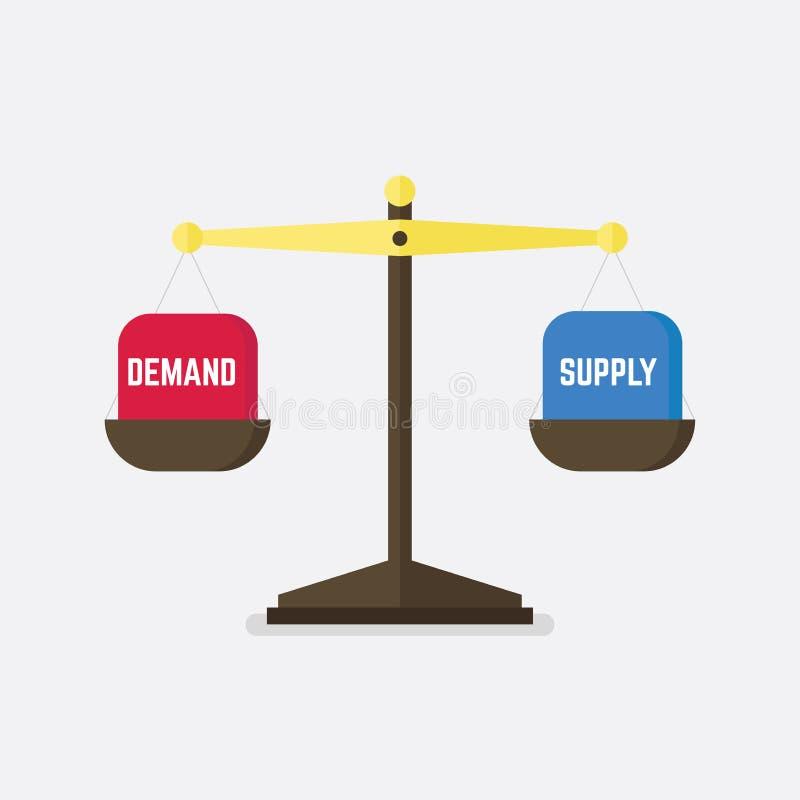 Equilibrio di offerta e domanda sulla scala Concetto di affari illustrazione di stock