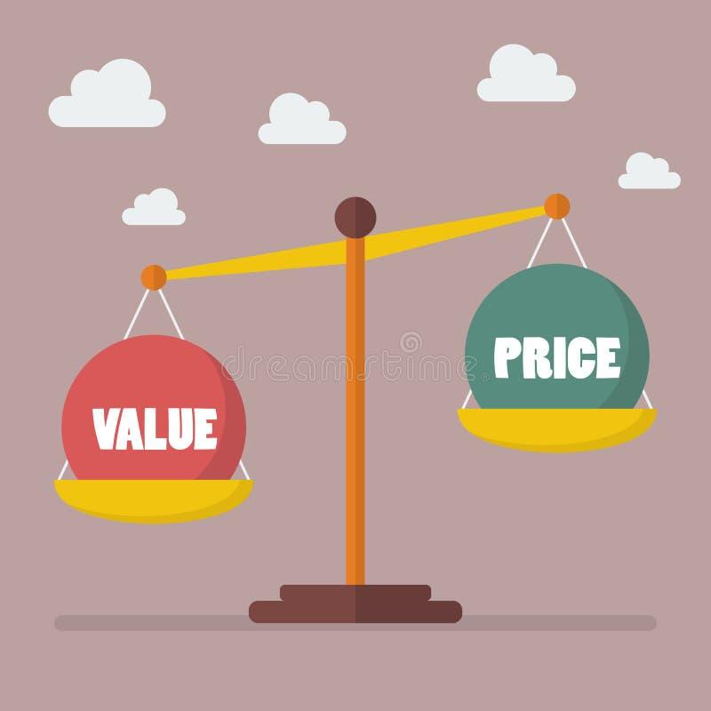 Equilibrio di prezzi e di valore sulla scala illustrazione di stock