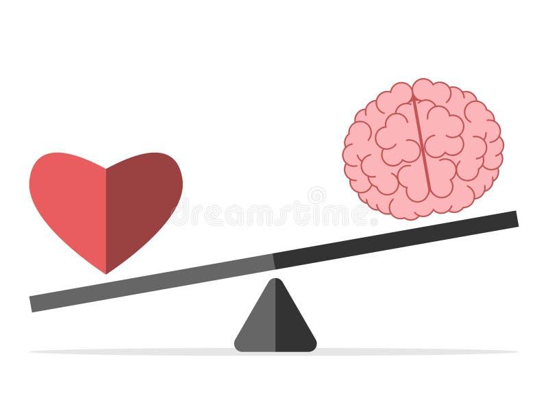 Equilibrio entre el corazón y el cerebro stock de ilustración