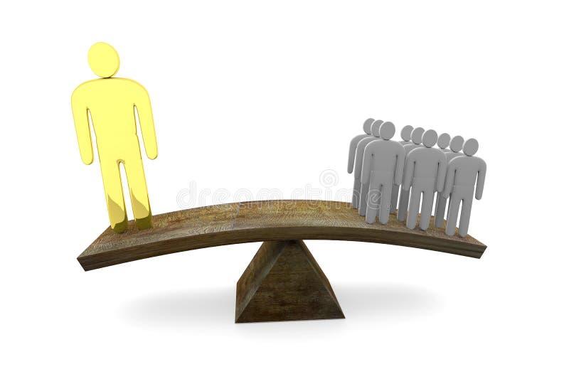 Equilibrio entre el talento de un genio y muchas gentes normales stock de ilustración