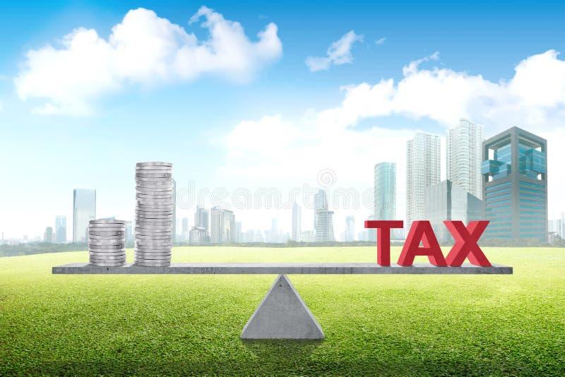 Equilibrio entre la renta y el impuesto fotografía de archivo