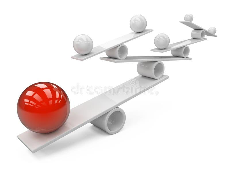 Equilibrio entre muchas esferas grandes y pequeñas - imagen del concepto ilustración del vector
