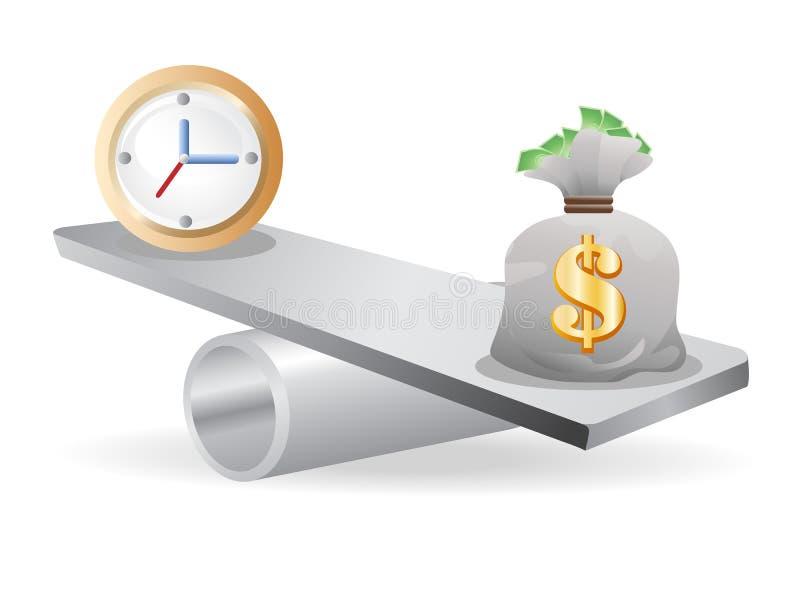 Equilibrio fra tempo e soldi illustrazione vettoriale