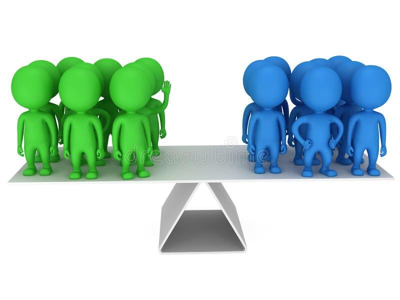 Equilibrio perfecto entre dos grupos de personas ilustración del vector