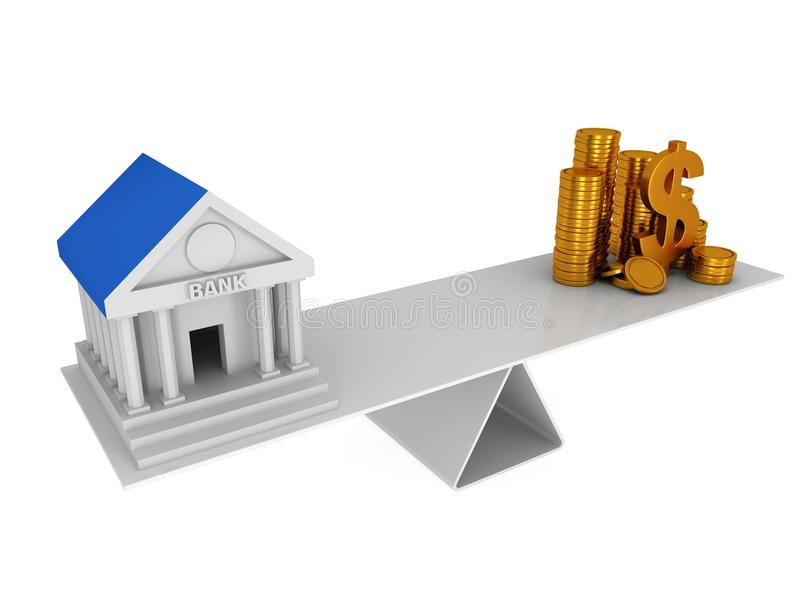 Equilibrio perfecto entre el banco y el dinero stock de ilustración