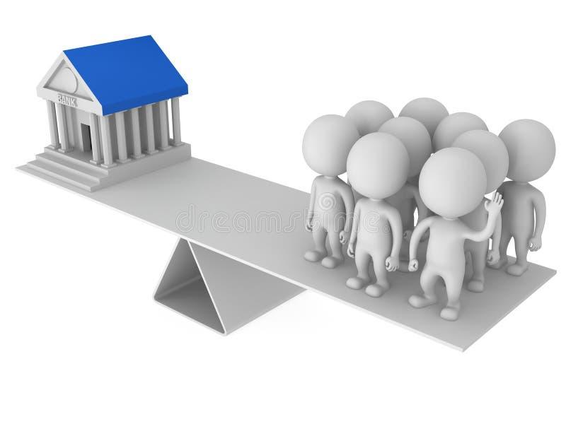 Equilibrio perfecto entre el banco y los clientes stock de ilustración