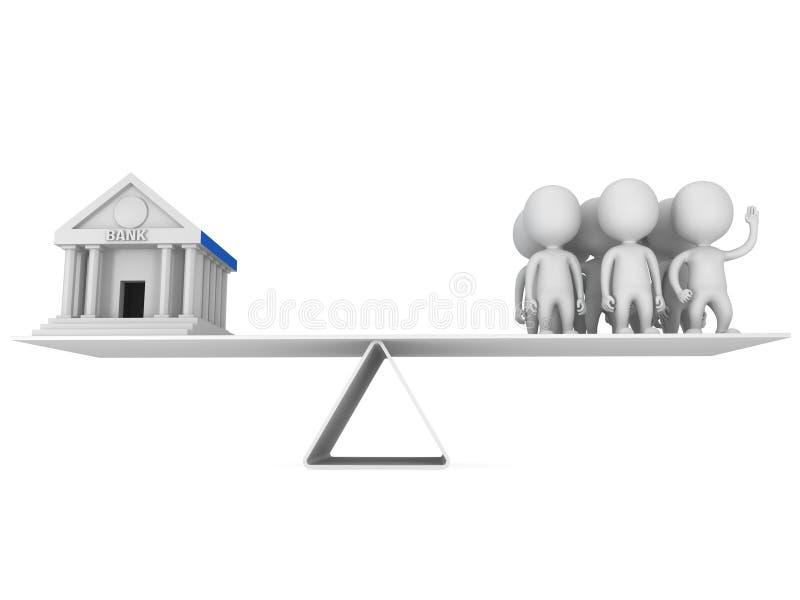 Equilibrio perfecto entre el banco y los clientes ilustración del vector