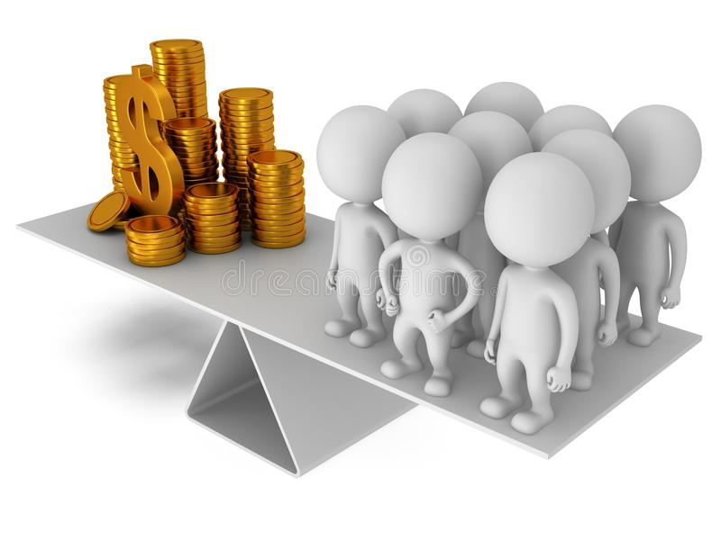 Equilibrio perfecto entre el dinero y la gente ilustración del vector