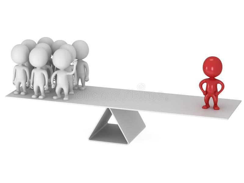 Equilibrio perfecto entre el líder y el equipo rojos libre illustration